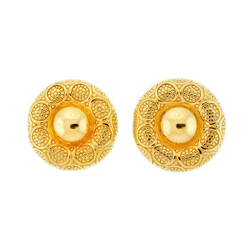 Christian Dior Gold Medallion Earrings