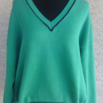 Liz Claiborne large  Sweater - Vneck slouchy sweater - Green -Blue - Large - cotton sweater - Liz Claiborne