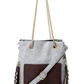 Grey Handbag with Chunky Chain Strap