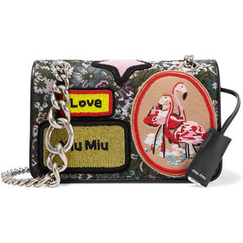 Miu Miu - Leather-trimmed appliquéd floral-jacquard shoulder bag
