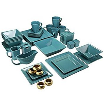 10 Strawberry Street NOVA-45GRNSQ-BEADED 45 Piece Nova Square Set, Teal