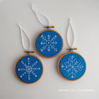 Set of 3 Snowflake Christmas Ornaments Holiday Decor Hoop Art