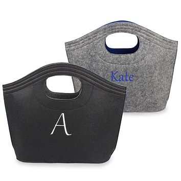 Personalized Black w/ Grey Felt Carry-All Tote Bag