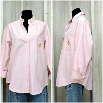 Vintage Ralph Lauren oxford shirt / 80s pink button down cotton shirt / size L