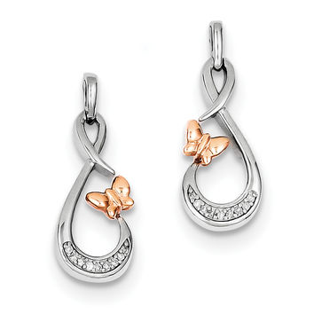 Sterling Silver Rhodium Plated 14k Rose Gold Butterfly Diamond Earrings QE10517