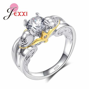 JEXXI Women Bridal Wedding Accessories 925 Sterling Silver Engagement Rings Jewelry Skull with Crystal Ring for Women Bijoux