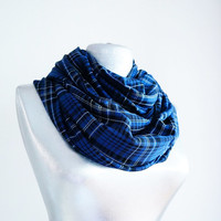 Handmade Tartan Infinity Scarf - Cotton - Blue Black White - Winter Autumn Scarf