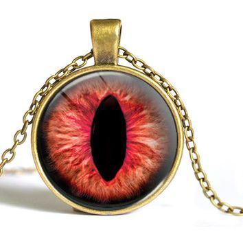2015 hot sale cat eye necklace antique bronze necklace evil eye jewelry dragon eye necklace glass dome handmade jewelry C1