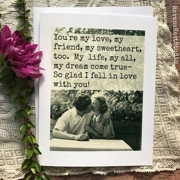 You're My Love, My Friend, My Sweetheart Funny Vintage Style Anniversary Card Valentines Day Card Love Card FREE SHIPPING
