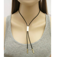 Leather Tie Necklace / Leather Cord Choker / Leather Necklace / Black Cord  Necklace / N286
