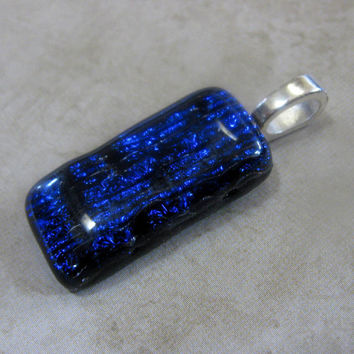 Dark Blue Dichroic Fused Glass Pendant, Blue Textured Dichroic Glass - Tropical Waterfall  by mysassyglass