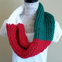 Wild inspired color scarf. cowl. Minnesota. hockey. Knit cowl. wild. Made by Bead Gs on ETSY. Green, red and white.