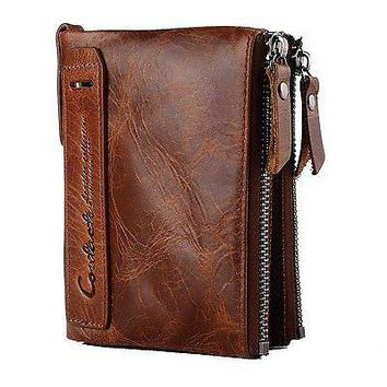 Mens Genuine Leather Wallet, Cowhide Leather with zipper.