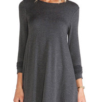Black Swing Dress with Long Sleeves and Seam