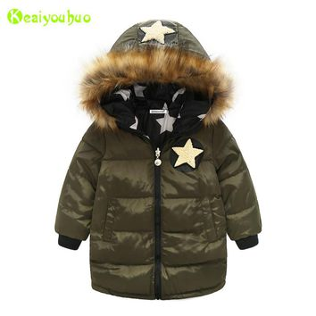 KEAIYOUHUO Baby Boys Jacket 2017 Winter Jacket For Boys Coat Kids Warm Hooded Thicken Cotton Outerwear Coat Children Clothes