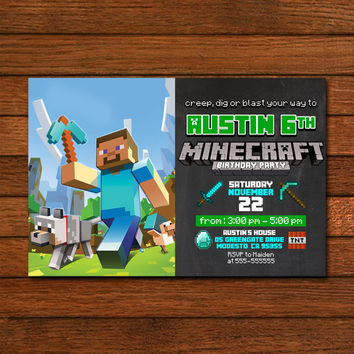 Minecraft Birthday Party Wolf Invitation