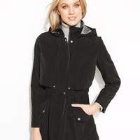 Nautica Coat, Hooded Zip-Front Raincoat - Coats - Women - Macy's