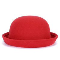 Fashion Spring Autumn Winter Women Hats Vintage Pillbox British Bowler Felt Hat