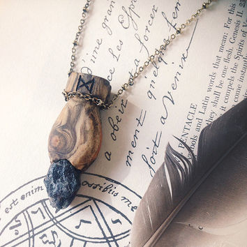 dagaz | crystal rune necklace - wooden rune pendant with amethyst crystal - witch necklace - witchcraft jewelry - runic amethyst necklace