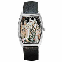 Christmas Traditional White Winter Santa onBarrel Watch with Leather Band