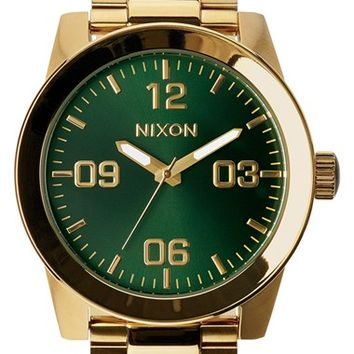 Men's Nixon 'The Corporal' Bracelet Watch, 48mm - Gold/ Green
