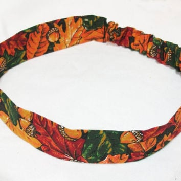 Reversible Fabric Headband 1 1/4 inches Wide Beautiful Autumn Leaves and Acorns Orange Red Green Brown Fall Women Teens