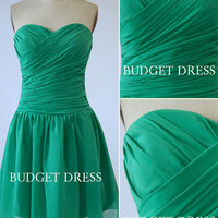 Short Green Bridesmaid Dress with Sweetheart Neckline Chiffon Prom Dresses - Short Bridesmaids Dresses Chiffon Bridesmaid Dresses