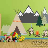 Monkey with teepee nursery wall decal, nursery decals, monkey wall decal, bohemian wall decor, kids wall decal, bohemian nursery, boho decal