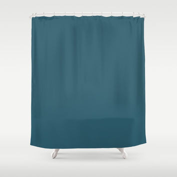 Teal The World (Blue) Shower Curtain by Moonshine Paradise