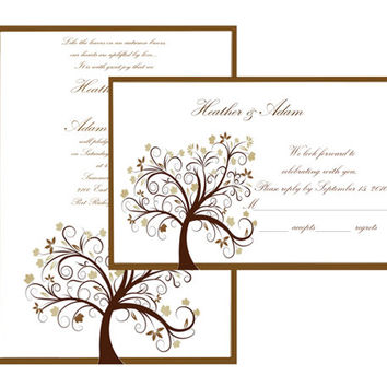 Instant Download-Autumn Fall Seasonal Wedding DIY Printable Template Invitation RSVP Thank You Card Bridal Shower Elegant Baby