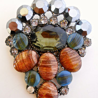 Art Glass Brooch, Cabochons, Hematite Crystals, Copper Fluss, Vintage