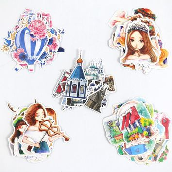 1Pack Korea Beauty Art Girls Castle Balloon DIY Decorative Dairy Sticker Stationery Sticky Label Stickers M0421