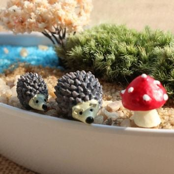 3pcs Animal Mushroom Resin Figurine Miniatures Garden Terrarium Figurines