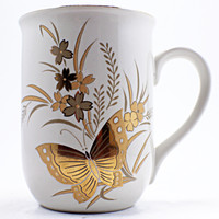 Butterfly Flowers Coffee Mug Vintage 1980s Gold 8oz Cup Otagiri Japan k476