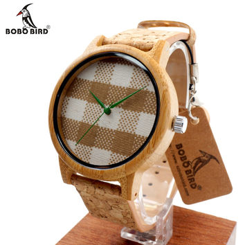 New arrival Vintage Round Ladies' Bamboo Wood Quartz Watches With Fabric Dial Women Watches Top Luxury Watch