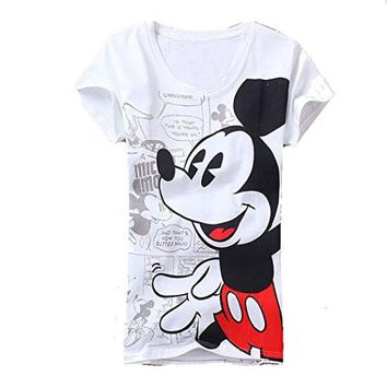 "Womens 'Mickey Mouse"" White T-Shirt / Top (china sizing - runs small)"