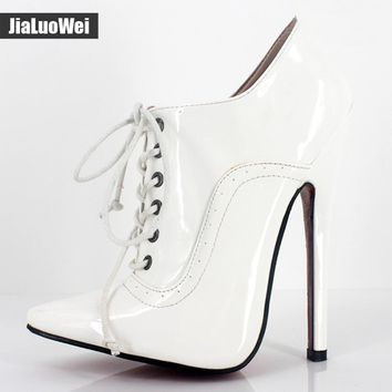 "Women 18cm/7"" Extreme High Heel Sexy Fetish Pointed Toe stiletto Shoes Lace-up Oxfords Leather Office Career party Lady Pumps"