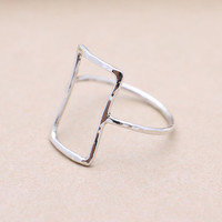 925 sterling silver hammered open square ring