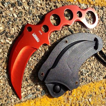 """Defender-Xtreme 7.5"""" Tactical Combat Karambit Knife Full Tang With Sheath - Red"""