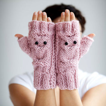 Owl Pink Fingerless Gloves  Mittens by afra on Etsy