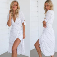 v-neck point is dress with split and elegant beach holiday