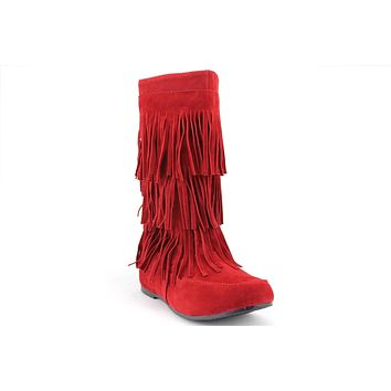 Women's Lima Suede 3 Layer Fringe Moccasin Boots