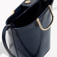 & Other Stories | Leather Bucket Bag | Dark Blue