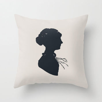 Silhouette of a Woman Home Decor Throw Pillow Cover Decorative Pillow Cover Polka Dot Navy Blue Decor Accent Pillow