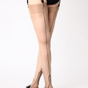 Outline Heel Fully Fashioned Stockings | Full Fashioned Stockings