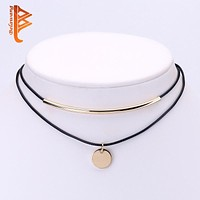 Boho Choker Gold Plated Coins Pendant Shell Choker Necklace