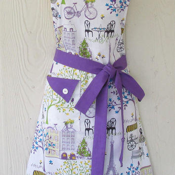 Retro Style Paris Apron, Eiffel Tower, Womens Full Apron, Hostess Apron, KitschNStyle