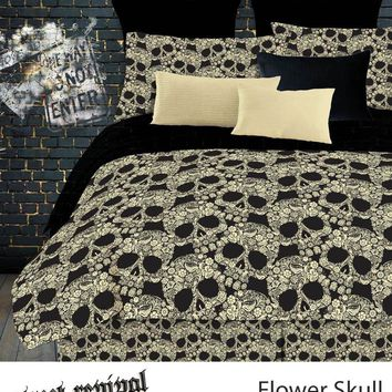 FLOWER SKULLS COMFORTER SET IN DIFFERENT SIZES