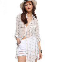 White Collar Button Up Long Sleeves Dovetail Hem Loose Plaid Top