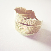 Gold Feather Ring by jesophi on Etsy